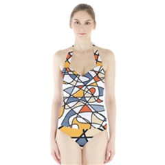 Abstract Background Abstract Halter Swimsuit