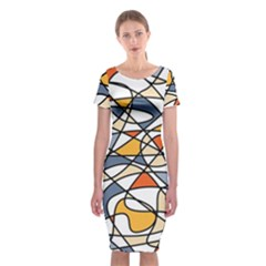 Abstract Background Abstract Classic Short Sleeve Midi Dress