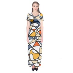 Abstract Background Abstract Short Sleeve Maxi Dress