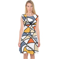 Abstract Background Abstract Capsleeve Midi Dress