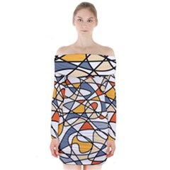 Abstract Background Abstract Long Sleeve Off Shoulder Dress