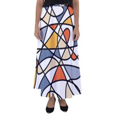 Abstract Background Abstract Flared Maxi Skirt
