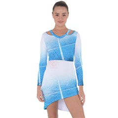 Court Sport Blue Red White Asymmetric Cut Out Shift Dress