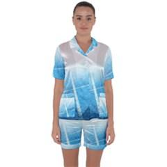 Court Sport Blue Red White Satin Short Sleeve Pyjamas Set