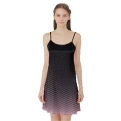 Halftone Background Pattern Black Satin Night Slip