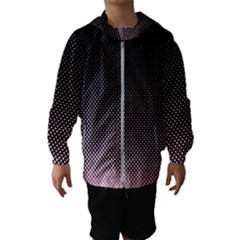 Halftone Background Pattern Black Hooded Wind Breaker (kids)