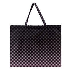 Halftone Background Pattern Black Zipper Large Tote Bag