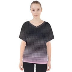 Halftone Background Pattern Black V Neck Dolman Drape Top