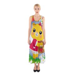 Bear Strawberries Sleeveless Maxi Dress