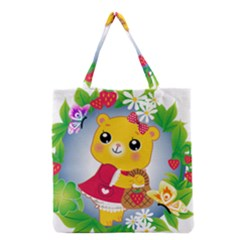 Bear Strawberries Grocery Tote Bag by Nexatart