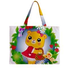 Bear Strawberries Zipper Mini Tote Bag by Nexatart