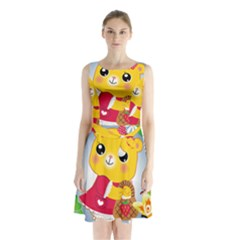 Bear Strawberries Sleeveless Waist Tie Chiffon Dress