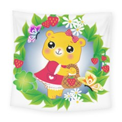 Bear Strawberries Square Tapestry (large)