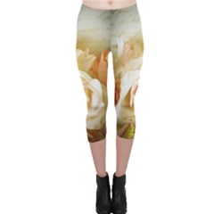 Roses Vintage Playful Romantic Capri Leggings