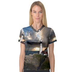 Lighthouse Beacon Light House V Neck Sport Mesh Tee by Nexatart
