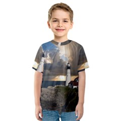 Lighthouse Beacon Light House Kids  Sport Mesh Tee