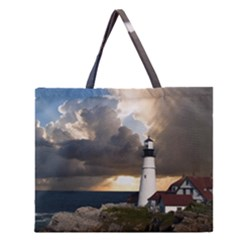 Lighthouse Beacon Light House Zipper Large Tote Bag by Nexatart