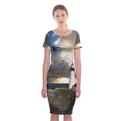 Lighthouse Beacon Light House Classic Short Sleeve Midi Dress
