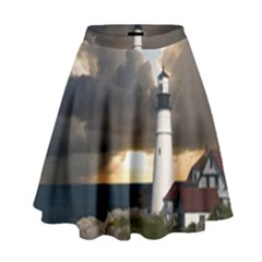Lighthouse Beacon Light House High Waist Skirt