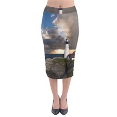 Lighthouse Beacon Light House Midi Pencil Skirt
