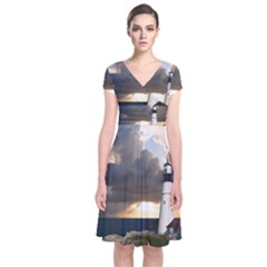 Lighthouse Beacon Light House Short Sleeve Front Wrap Dress