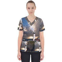 Lighthouse Beacon Light House Scrub Top by Nexatart