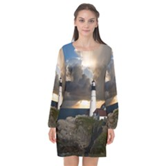 Lighthouse Beacon Light House Long Sleeve Chiffon Shift Dress  by Nexatart