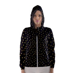 Grunge Pattern Black Triangles Hooded Wind Breaker (women)