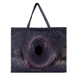 Black Hole Blue Space Galaxy Star Zipper Large Tote Bag by Mariart