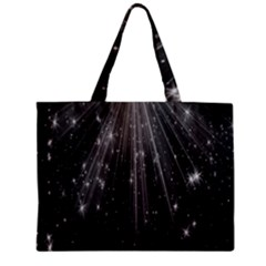 Black Rays Light Stars Space Zipper Mini Tote Bag by Mariart