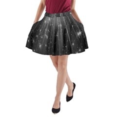 Black Rays Light Stars Space A Line Pocket Skirt by Mariart