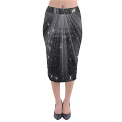 Black Rays Light Stars Space Midi Pencil Skirt by Mariart