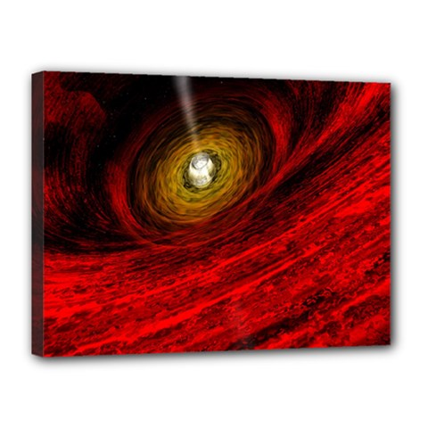 Black Red Space Hole Canvas 16  X 12  by Mariart