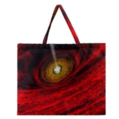 Black Red Space Hole Zipper Large Tote Bag by Mariart