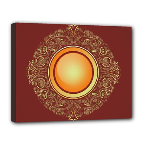 Badge Gilding Sun Red Oriental Canvas 14  X 11