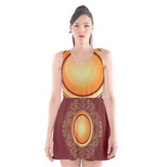 Badge Gilding Sun Red Oriental Scoop Neck Skater Dress