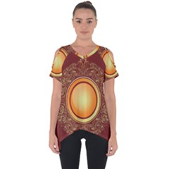 Badge Gilding Sun Red Oriental Cut Out Side Drop Tee