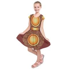 Badge Gilding Sun Red Oriental Kids  Short Sleeve Dress