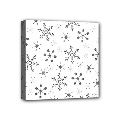 Black Holiday Snowflakes Mini Canvas 4  X 4  by Mariart