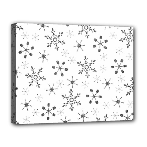 Black Holiday Snowflakes Canvas 14  X 11  by Mariart