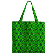 Abstract Art Circles Swirls Stars Zipper Grocery Tote Bag