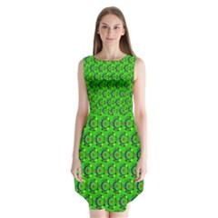 Abstract Art Circles Swirls Stars Sleeveless Chiffon Dress