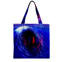 Blue Red Eye Space Hole Galaxy Zipper Grocery Tote Bag by Mariart