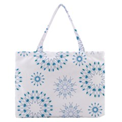 Blue Winter Snowflakes Star Triangle Zipper Medium Tote Bag by Mariart