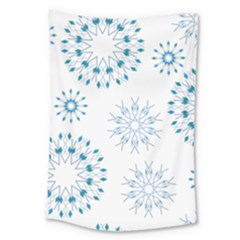 Blue Winter Snowflakes Star Triangle Large Tapestry by Mariart
