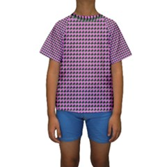 Pattern Grid Background Kids  Short Sleeve Swimwear