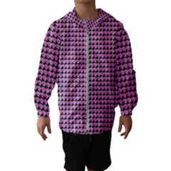 Pattern Grid Background Hooded Wind Breaker (kids)