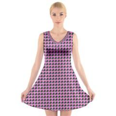 Pattern Grid Background V Neck Sleeveless Skater Dress