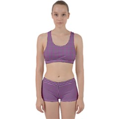 Pattern Grid Background Work It Out Sports Bra Set