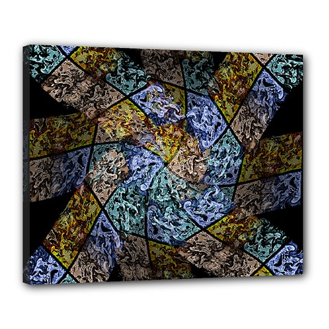 Multi Color Tile Twirl Octagon Canvas 20  X 16